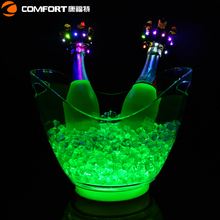 Glowing branded Ice bucket wave shape plastic rechargeable led wine cooler supplier