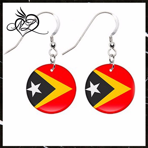 Timor-Leste Flag Earrings