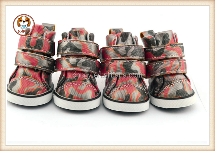 Luxury Camouflage PU Leather Pet Dog Shoes Outdoor Waterproof Anti Slip Boots Puppy Sport Shoes