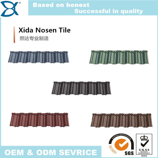 fashion and durable nosen stone coated metal roofing tile