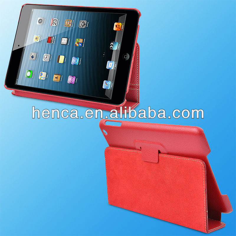 Red color Real leather case for iphone iPad mini