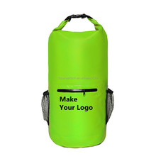 2018 Newest Item Outdoor PVC Floating Waterproof Custom Logo Dry Bag with Exterior Zip Pocket Roll Top Seal Sports Bag