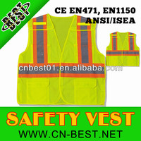2015 news high quanlity LARGE ANSI CLASS 2 Bordered Reflective Tape/ High Visibility Safety Vest