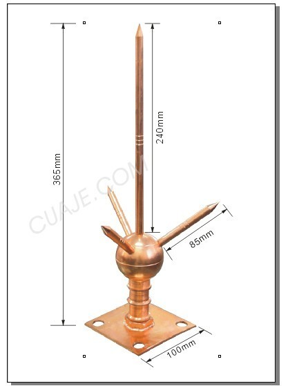 Copper lightning rod arrester,Copper Air Rod Lightning Rod