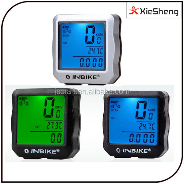 waterproof blue and green LCD backlight odometer electric bike computer mountain speed distance automatic bicycle speed meter