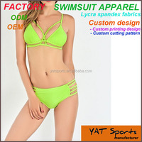 Latest design bikini set Girl yellow swimwear swimsuit