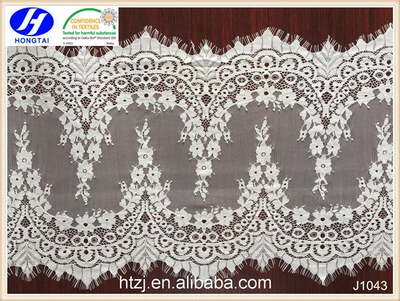 White color lace fabric for cloth custom design eyelash lace trim