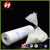 HDPE natural plastic flat food bag on roll with paper core for shopping