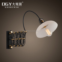Swing arm headboard wrought iron reading industrial led wall light