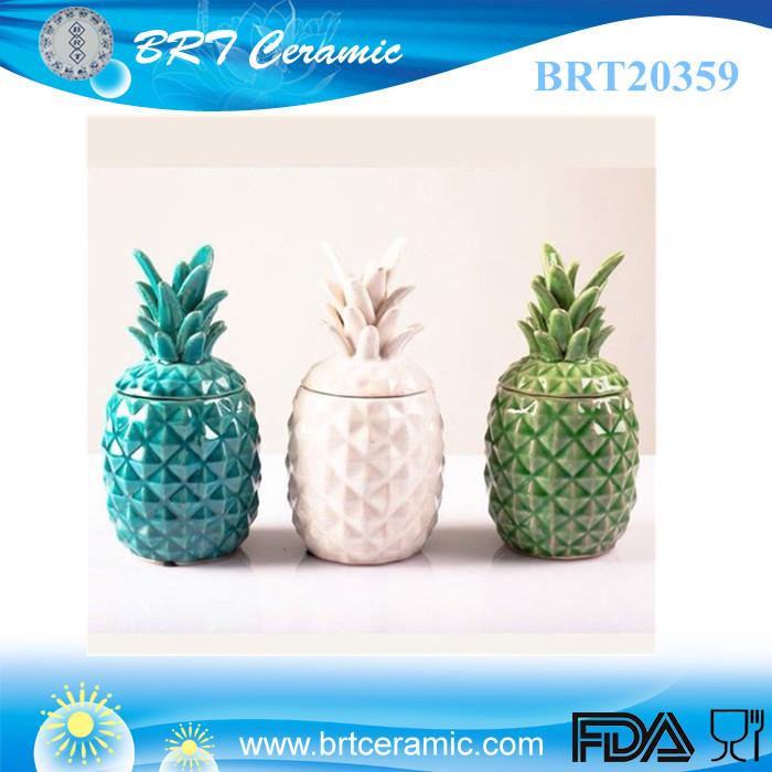 popular pineapple ceramic candle jar with lid