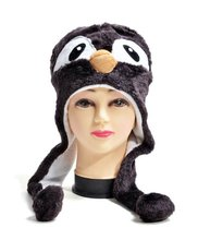newest style soft plush penguin animal head hat toys for winter