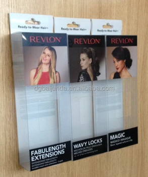 Plastic packaging box for hair extensions