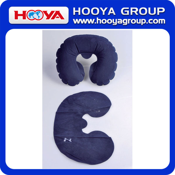 PVC Flocking Inflatable Travel Neck Pillow