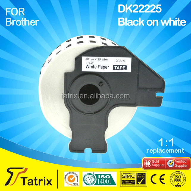 wholesale distributor 38mmx30.48m compatible label tape DK22225 for Brother QL-700