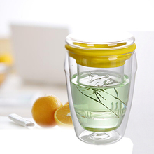 Borosilicate russian glass tea cups with silicone sleeve/double wall tea infuser and lid