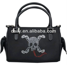 Dual use polyester handbag,rhineston cross&bones pattern handbag,cool skull handbag