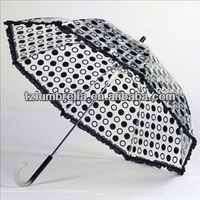 Pvc Clear black Dot with lace edge Umbrellas