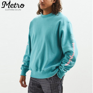 Wholesale men cotton crew neck blue cropped hooded sweatshirt