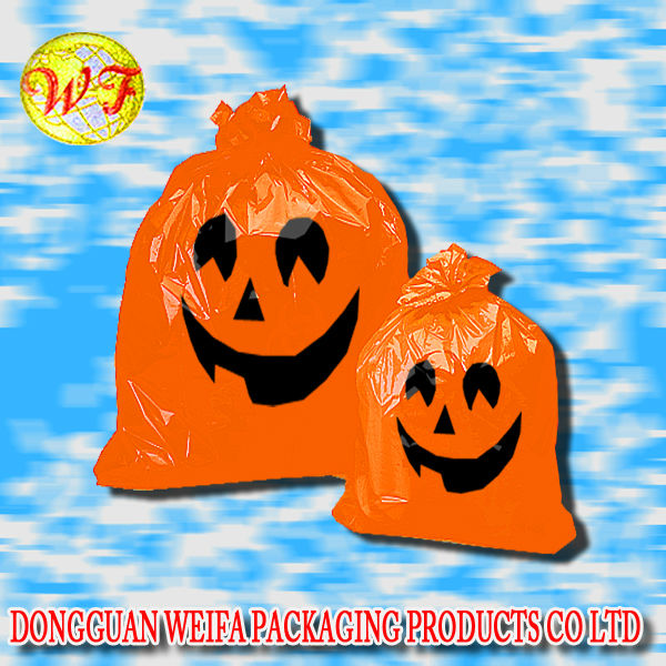 halloween plastic bag with pumpkin and bat design