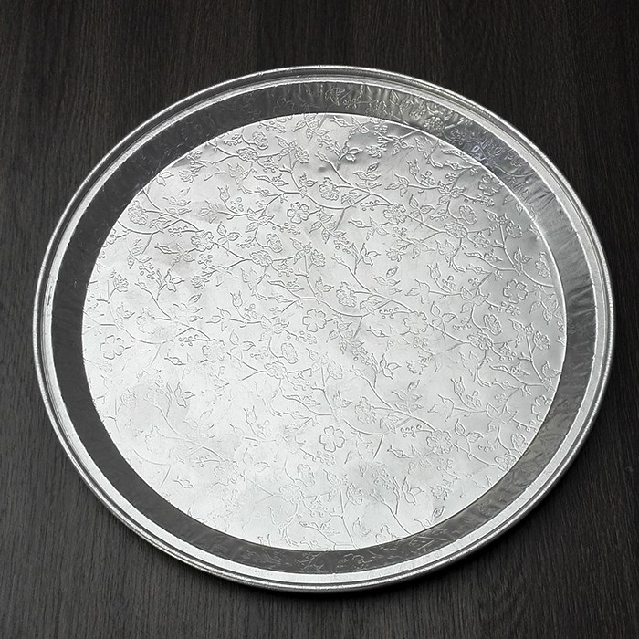 2017 flower emboss circle shape aluminum foil cake baking tray