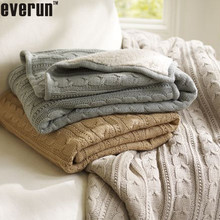 50CZ65 100%Acrylic 100%Cotton 100%wool Pottery Barn Cable Knit throw and knitted Blanket,faux lambswool or fur back