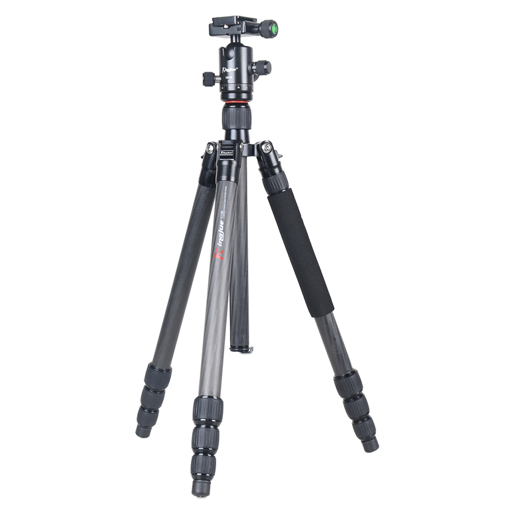 Kingjoy CT-258+QE-0T Universal LightWeight Foldable Carbon Fiber DSLR Camera Photo Tripod with Ball Head for Canon Nikon Camera