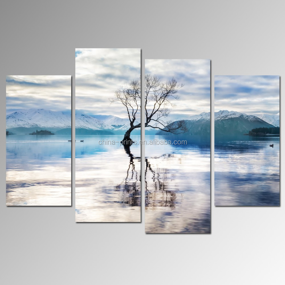 Water Lake Landscape Canvas Wall Art/abstract Tree Reflection Canvas Print/snow Mountain Wall Art Framed