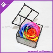 @~ Love Not War. Modern Gift Box & Ribbon Included in Purchase - Vintage Metal & Beveled Glass Heart Shaped Jewelry Casket box