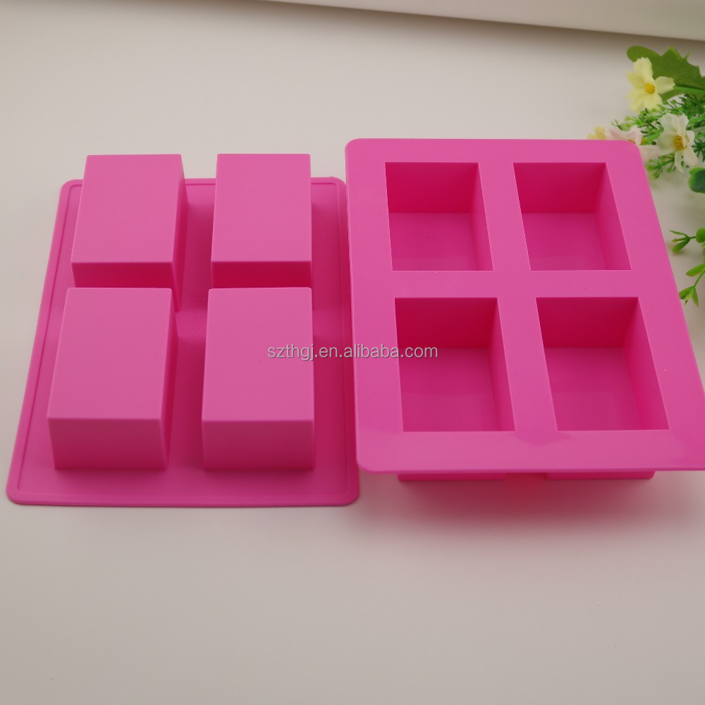 Rectangle shape 4 holes silicone mold for soaps