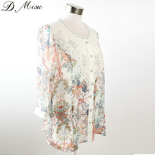 New designs flower printed chiffon lady blouse & top wholesale