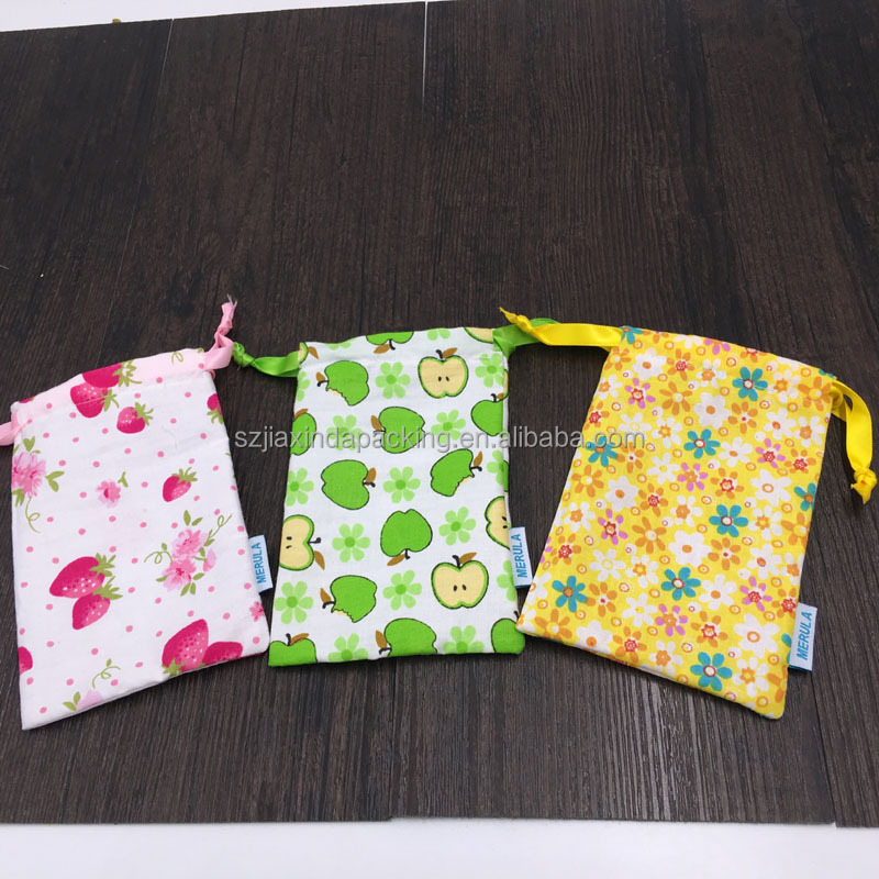 Beatuful Flower Cotton Drawstring Packaging Bag For Menstrual Cup