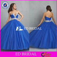 2756 Simple Elegant Royal Blue Sweetheart Neckline Ball Gown Low Back Cut Arabic Evening Dress