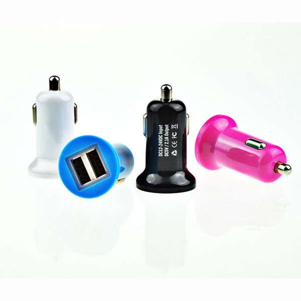 mini dual usb car charger with colorful apperance