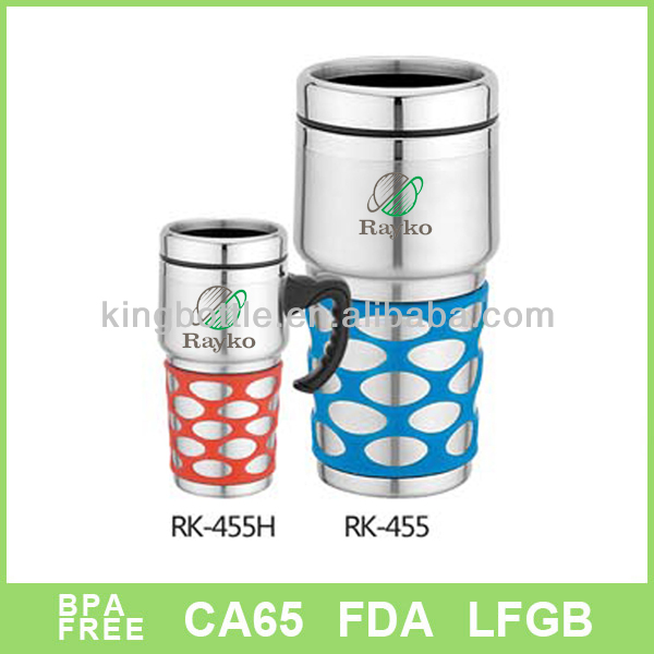 Wide mouth metal lid wraps stainless steel tumbler with handle