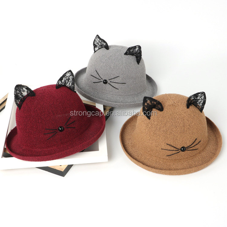 2017 family lace cat ear kids straw hat adult straw bolwer hat