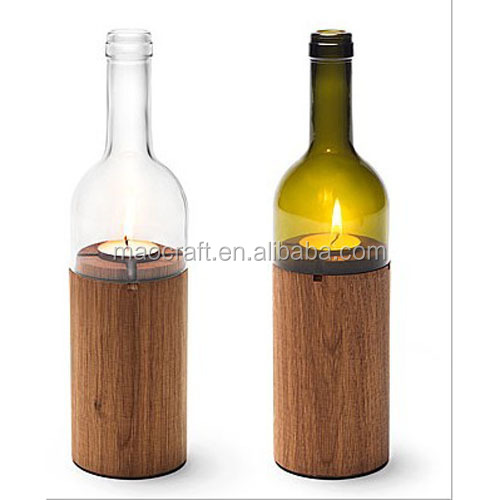 glass wine bottle candle holder with wood base