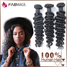 Fabwigs instock soft and clean unprocessed natural color brazilian deep curl braiding human hair weaving