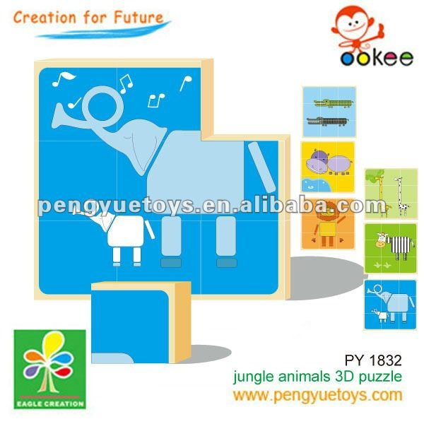 3D Wooden Animals Cube puzzle- 2012 New toys
