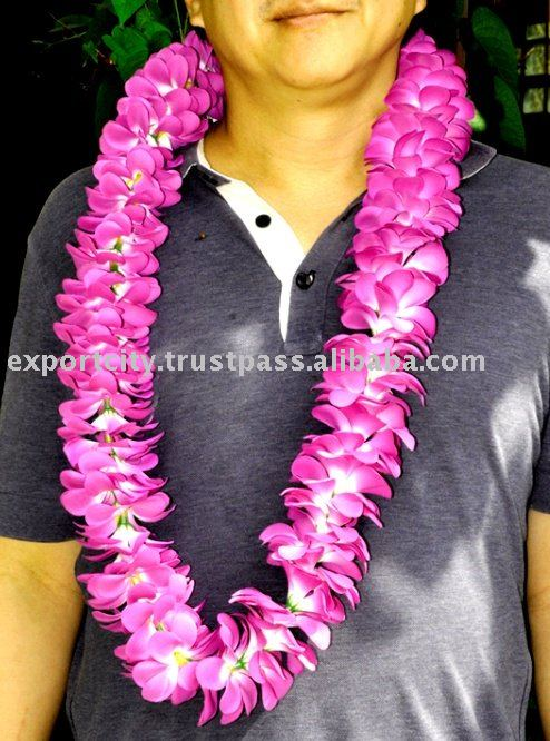 96 Hawaiian flower lei, leis fabric plumeria (groom wedding)