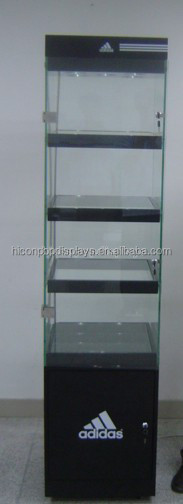 Custom Made Free Standing Shopping Mall Lighting Brand Name Sunglasses Store Glass Tower Display Case