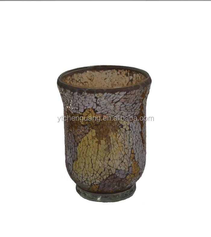 Multi Brown Mosaic Glass Small Hurricane Vase Votive Candle Holder