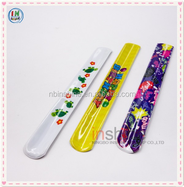 2016 fashion pvc slap bracelet , promotional gift custom cheap printed pvc plastic slap bracelet