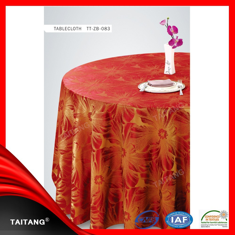 High Quality Best Sale Round Cheap Polyester Fancy red Wedding Table Cloth and Chair Cover