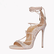 Fancy new open toe with shoelaces with rhinestone women fancy sandals