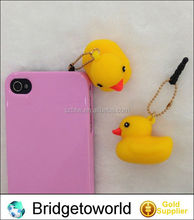Lastest Rubber Duck dust plug/ear cap/dust plug for mobile phone