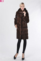 Factory Price Fashionable Long Natural Real Mink Fur Coat for Women with Hood