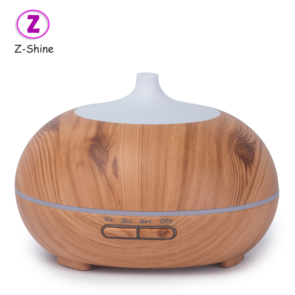 Round aroma air conditioning wood grain essential oil diffuser ultrasonic aromatherapy