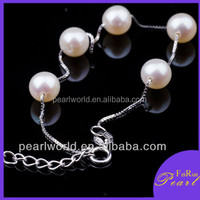 8-9mm AA round freshwater sterling silver bracelet