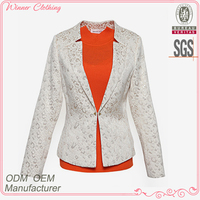 garment clothing OEM/ODM manufacturer hign end polyester jacquard formal office wear women fancy suit blazer