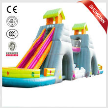 2016 Showann hot sale outdoor hippo commercial giant inflatable water slide for adult